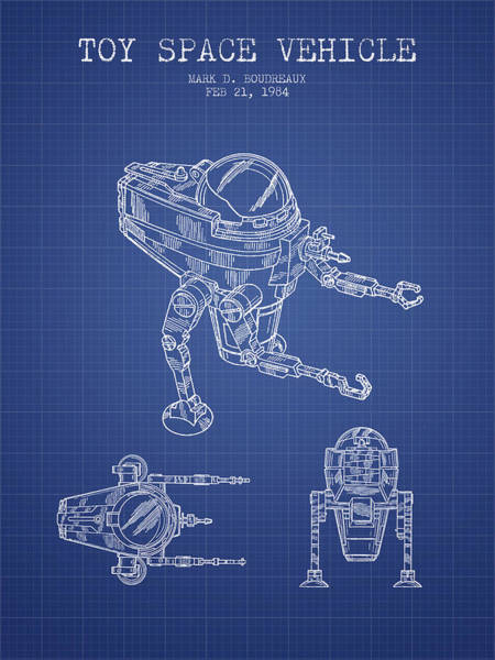 Living Space Wall Art - Drawing - Toy Space Vehicle Patent From 1984 - Blueprint by Aged Pixel