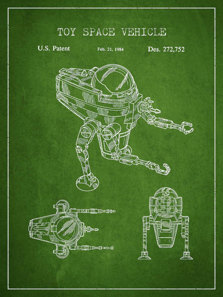 Living Space Wall Art - Digital Art - Toy Space Vehicle Patent - Green by Aged Pixel