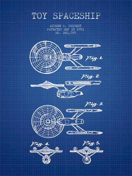 Space Ship Digital Art - Toy Spaceship Patent From 1981 - Blueprint by Aged Pixel