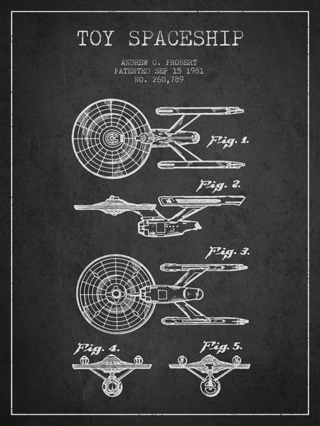 Space Ship Digital Art - Toy Spaceship Patent From 1981 - Dark by Aged Pixel