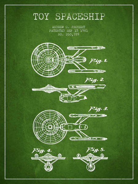 Space Ship Digital Art - Toy Spaceship Patent From 1981 - Green by Aged Pixel