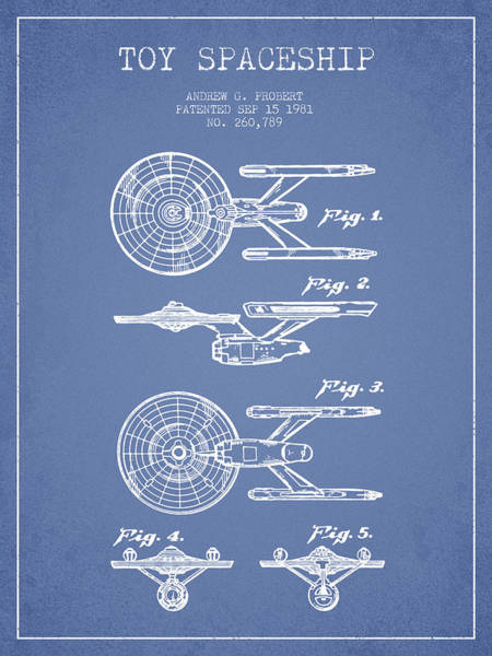 Space Ship Digital Art - Toy Spaceship Patent From 1981 - Light Blue by Aged Pixel