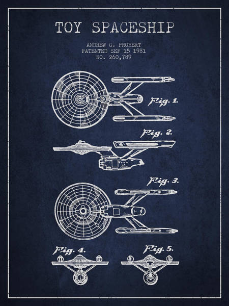 Living Space Wall Art - Digital Art - Toy Spaceship Patent From 1981 - Navy Blue by Aged Pixel