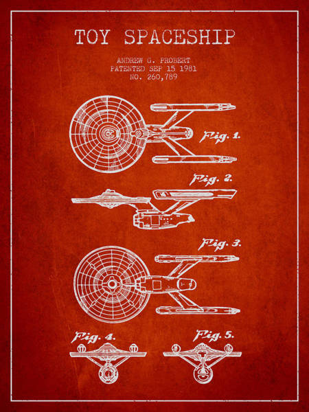 Space Ship Digital Art - Toy Spaceship Patent From 1981 - Red by Aged Pixel