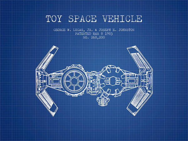 Living Space Wall Art - Digital Art - Toy Spaceship Vehicle Patent From 1983 - Blueprint by Aged Pixel