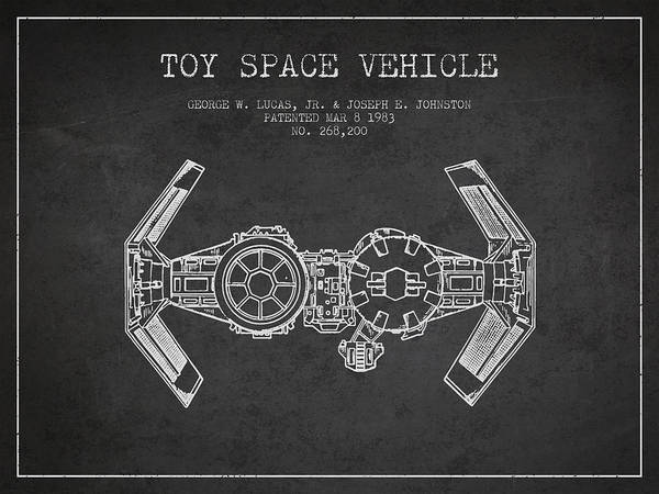 Living Space Wall Art - Digital Art - Toy Spaceship Vehicle Patent From 1983 - Dark by Aged Pixel
