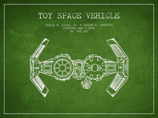 Living Space Wall Art - Digital Art - Toy Spaceship Vehicle Patent From 1983 - Green by Aged Pixel