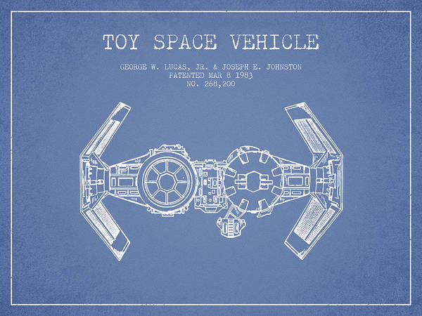 Living Space Wall Art - Digital Art - Toy Spaceship Vehicle Patent From 1983 - Light Blue by Aged Pixel