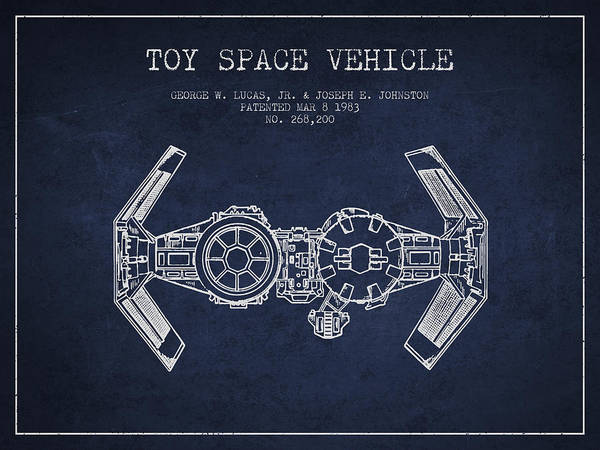 Living Space Wall Art - Digital Art - Toy Spaceship Vehicle Patent From 1983 - Navy Blue by Aged Pixel
