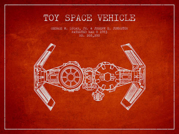 Space Ship Digital Art - Toy Spaceship Vehicle Patent From 1983 - Red by Aged Pixel