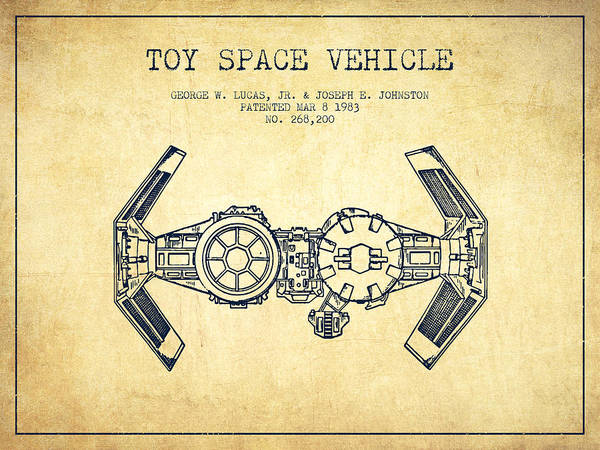 Living Space Wall Art - Digital Art - Toy Spaceship Vehicle Patent From 1983 - Vintage by Aged Pixel