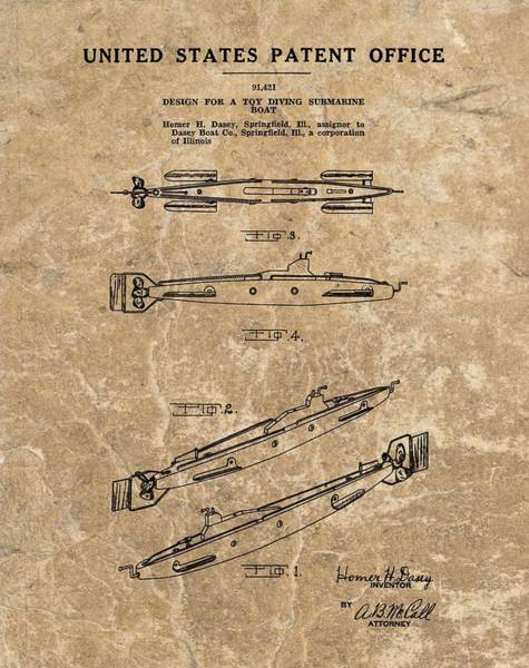 Wall Art - Drawing - Toy Submarine Patent by Dan Sproul