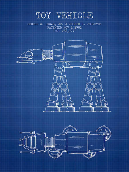 Living Space Wall Art - Digital Art - Toy Vehicle Patent From 1982 - Blueprint by Aged Pixel