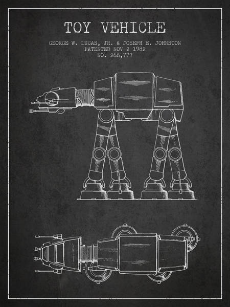 Living Space Wall Art - Digital Art - Toy Vehicle Patent From 1982 - Dark by Aged Pixel