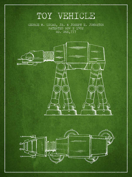 Living Space Wall Art - Digital Art - Toy Vehicle Patent From 1982 - Green by Aged Pixel