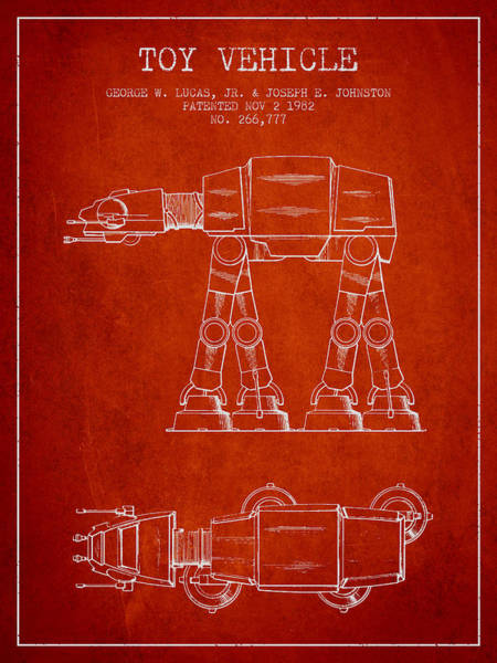 Living Space Wall Art - Digital Art - Toy Vehicle Patent From 1982 - Red by Aged Pixel