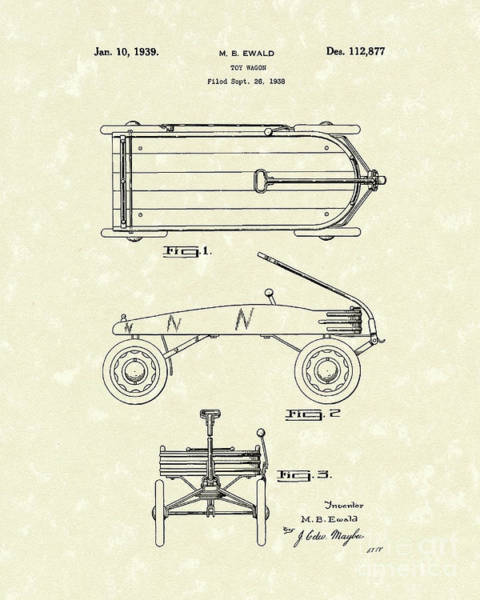 Drawing - Toy Wagon 1939 Patent Art by Prior Art Design