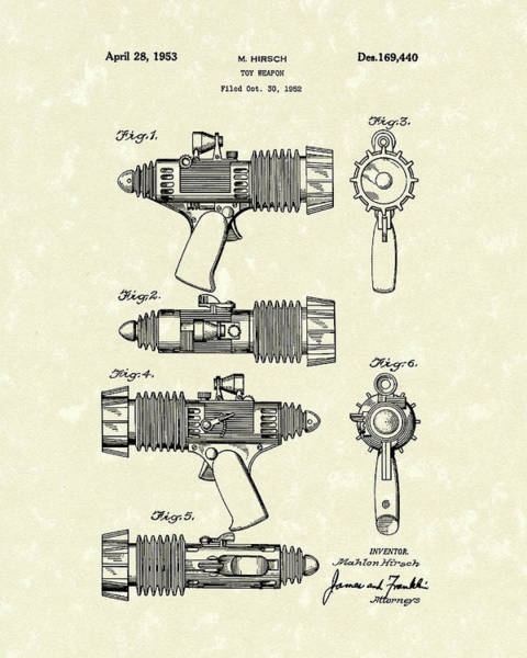 Rifle Drawing - Toy Weapon 1953 Patent Art by Prior Art Design