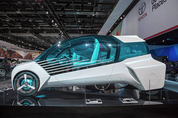 Auto Show Photograph - Toyota Fcv Plus Hydrogen Fuel Cell Car by Jim West/science Photo Library