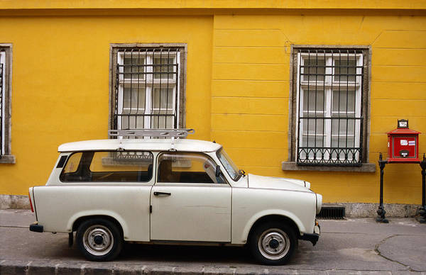 Engine House Wall Art - Photograph - Trabant Motor Car On Street In Castle by Jonathan Smith
