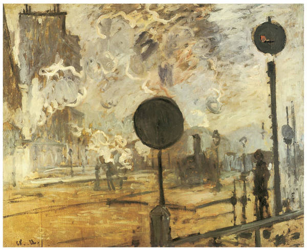 Lazare Painting - Track Signals Outside Saint-lazare Station by Claude Monet