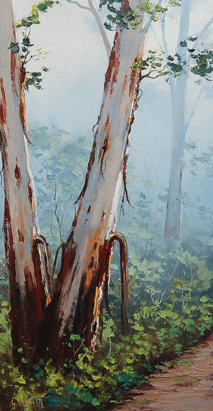 Old Tree Painting - Trackside Gums Lithgow by Graham Gercken