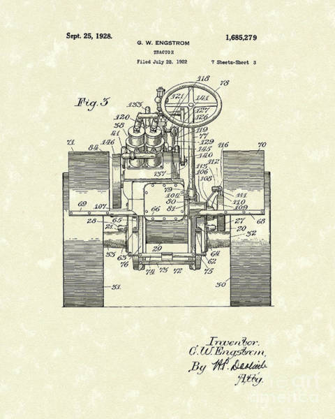 Wall Art - Drawing - Tractor 1928 Patent Art by Prior Art Design