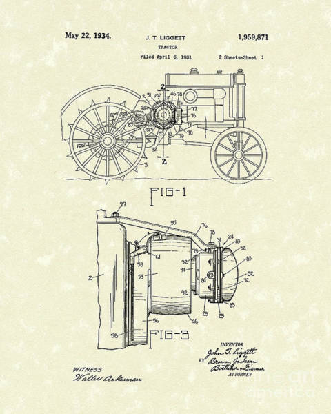 Wall Art - Drawing - Tractor 1934 Patent Art by Prior Art Design