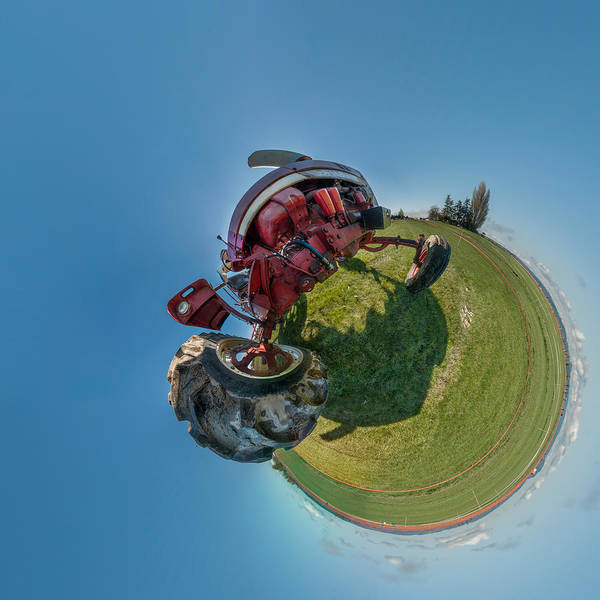 Fish Eye Lens Photograph - Tractor In A Field, Everett, Snohomish by Panoramic Images
