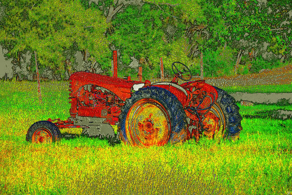 Vintage Tractor Painting - Tractor Love by David Lee Thompson