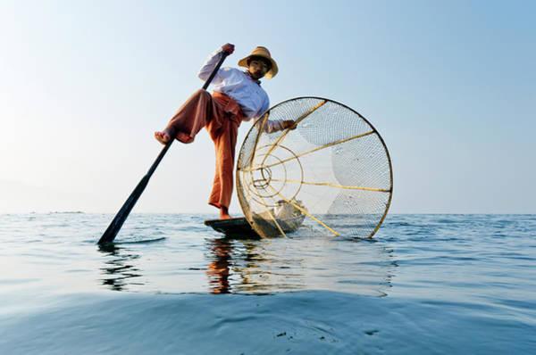 Oar Photograph - Traditional Bamboo Fisherman, Inle by Rwp Uk