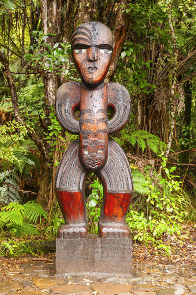 Auckland Photograph - Traditional Carved Figure Waitakere New Zealand by Colin and Linda McKie