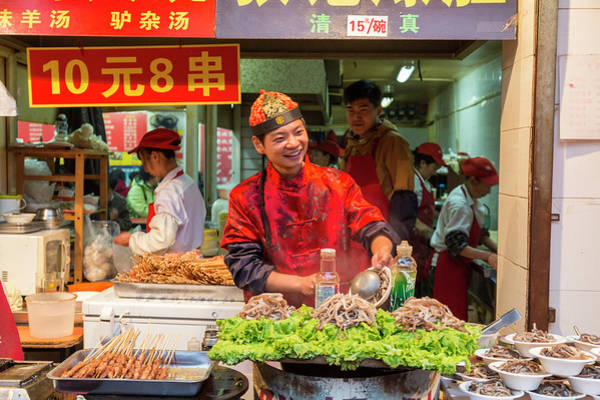 Chinese Clothing Wall Art - Photograph - Traditional Chef, Donghuamen Night by Peter Adams
