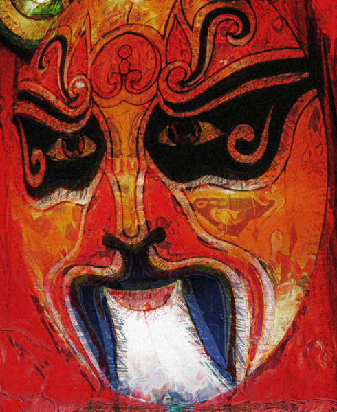 Painting - Traditional Chinese Opera Mask by Susan Schroeder