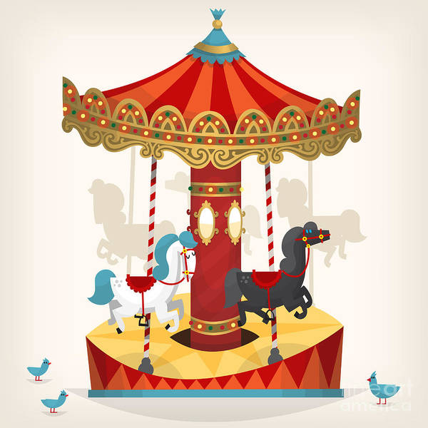 Ride Digital Art - Traditional Funfair Amusement Horse by Yauhen Paleski