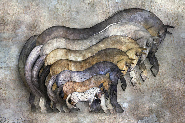 Dapple Digital Art - Traditional Horses by Betsy Knapp