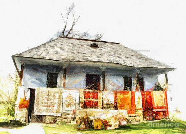 Mixed Media - Traditional House In Romania by Daliana Pacuraru