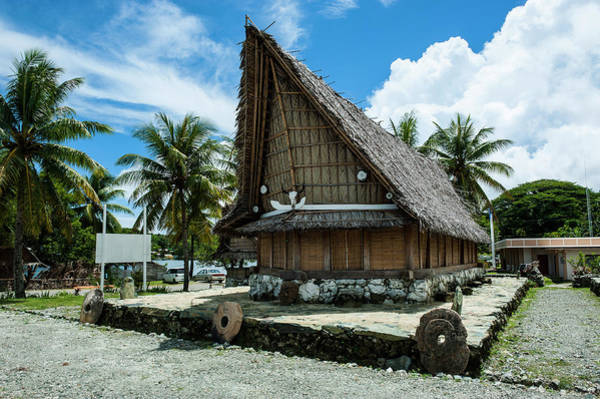 Micronesia Photograph - Traditional House With Stone Money by Michael Runkel