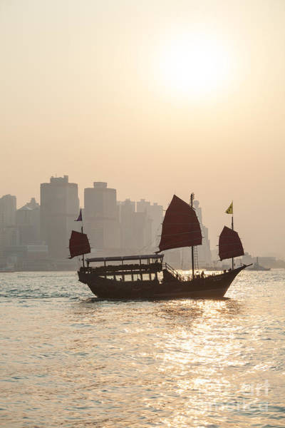 Wall Art - Photograph - Traditional Junk Boat Sailing In Hong Kong Harbor by Matteo Colombo
