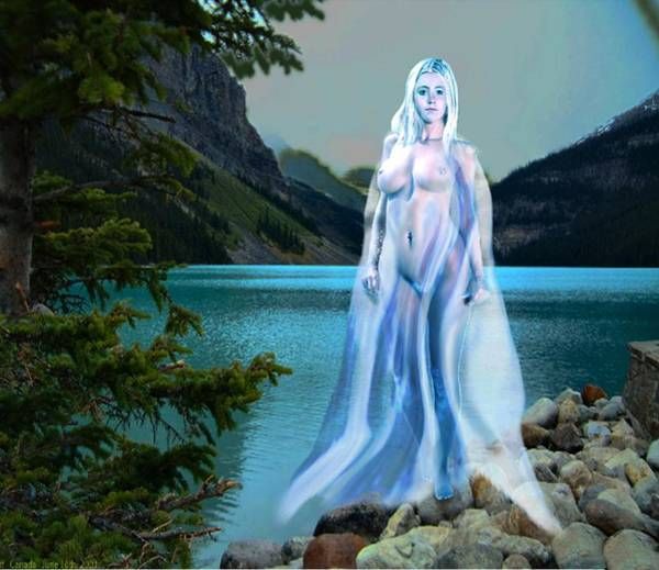 Painting - Traditional Modern Female Nude Lady Of The Lake by G Linsenmayer