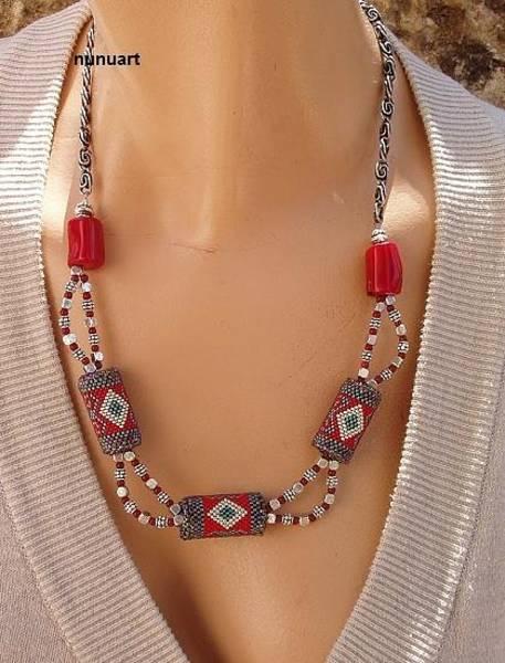 Wall Art - Jewelry - Traditional Yemenite Beaded Necknlace by Nurit Tzubery