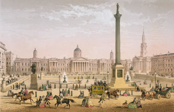 Wall Art - Drawing - Trafalgar Square, C.1862 by Achille-Louis Martinet