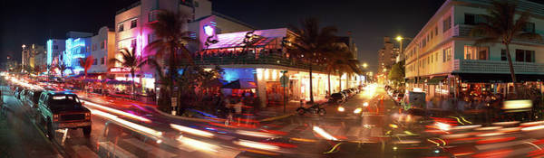 Miami-dade Photograph - Traffic Along Ocean Drive, South Beach by Panoramic Images