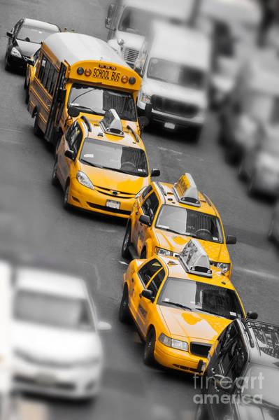 Yellow Taxi Photograph - Traffic by Delphimages Photo Creations