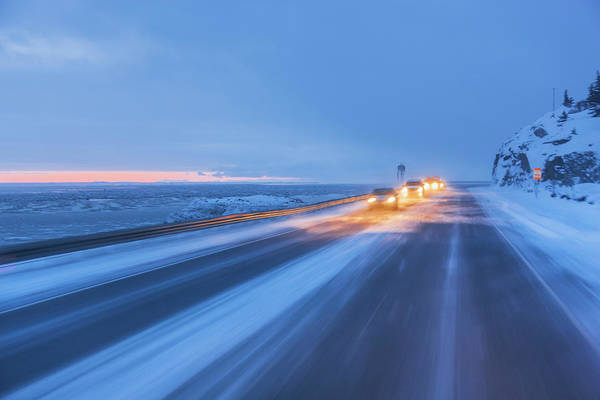 Driving Photograph - Traffic Driving On The Seward Highway by Kevin Smith / Design Pics