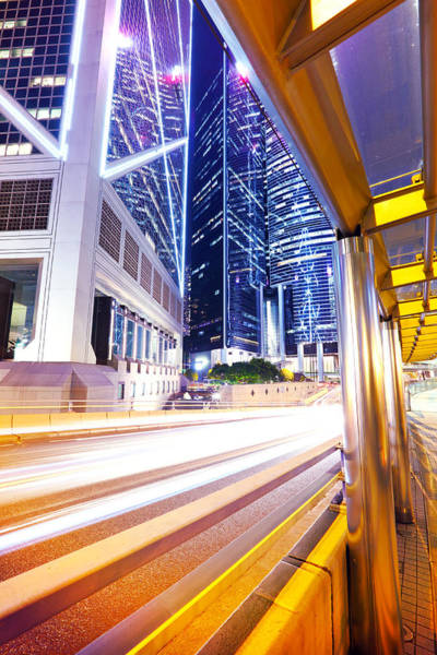 Central Business District Wall Art - Photograph - Traffic In Hong Kong City At Night by Ngkaki