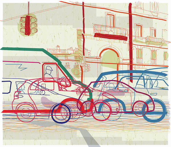 Traffic Jam On Urban Street Art Print