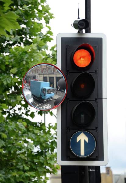 Stop Light Photograph - Traffic Lights And Mirror by Cordelia Molloy