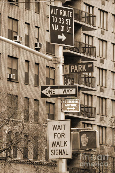 Photograph - Traffic Signs In Manhattan Vintage Look by RicardMN Photography