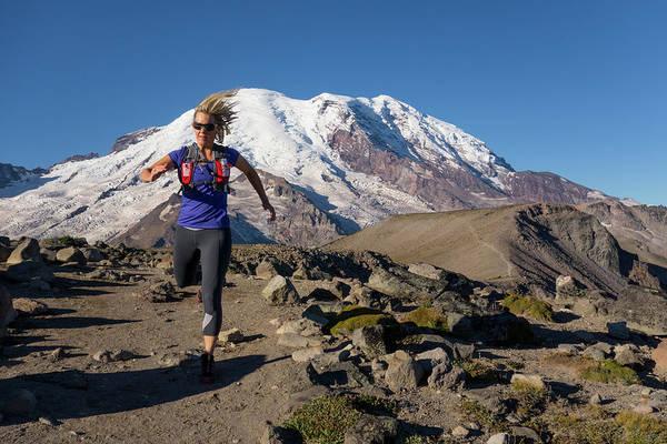 Trail Runner In Mid Stride On Mountain Art Print